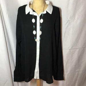 Stanzino women's plus black sheer blouse size 3XL